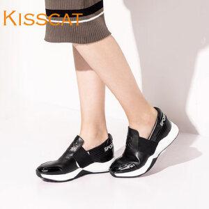 接吻猫狗头运动休闲一脚套乐福鞋深口单鞋女DA76519-51
