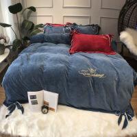 新品秒杀加厚水晶绒四件套双面绒保暖韩式公主风宝宝绒1.5米1.8m床上用品 蓝