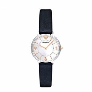 阿玛尼(Emporio Armani)手表 皮质表带经典时尚休闲石英女表 AR2509