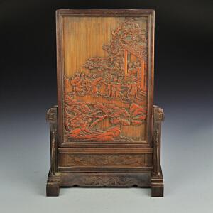 竹雕十二金钗屏风