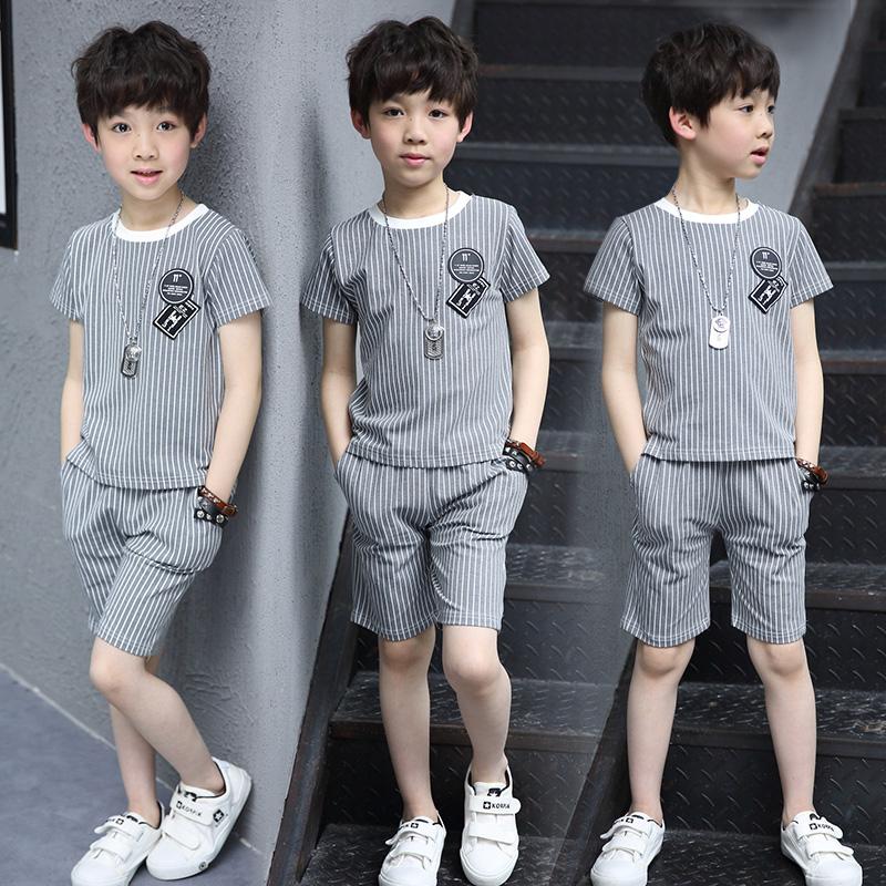 男童夏装套装新款儿童夏天短袖中大童衣服两件套