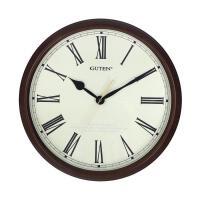 金钟宝美式挂钟客厅静音石英钟欧式现代简约挂表罗马数字时钟表 咖啡色 16英寸