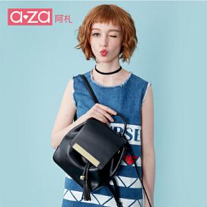 aza阿札夏季包包2017新款 简约时尚个性减法流苏双肩包背包女1502