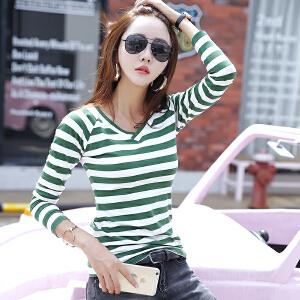 韩版新款修身长袖上衣条纹打底女士V领T恤衫