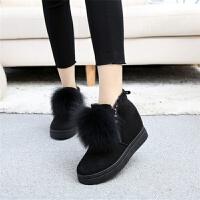冬季内增高毛毛雪地靴高跟厚底双侧拉链加绒保暖女棉靴松糕底短靴