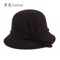 №【2019新款】秋帽子女 韩版呢子盆帽圆顶礼帽时尚女帽英伦帽子圆帽子 均码57cm