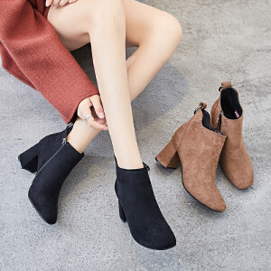 ZHR2018秋冬季新款韩版高跟短靴粗跟裸靴切尔西靴方头百搭女靴子