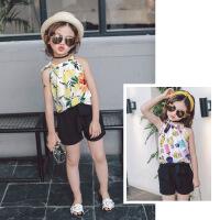 夏季韩版童装女童套装 卡通印花雪纺吊带背心+短裤两件套B9-A27
