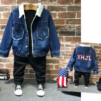 冬季新款韩版儿童加绒牛仔外套男童羊羔毛字母加厚上衣B2-T31