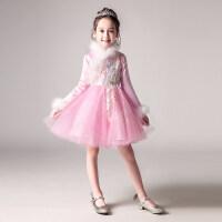 女童粉色长袖加厚生日公主裙花童蓬蓬纱儿童晚礼服小主持人婚纱冬 粉色