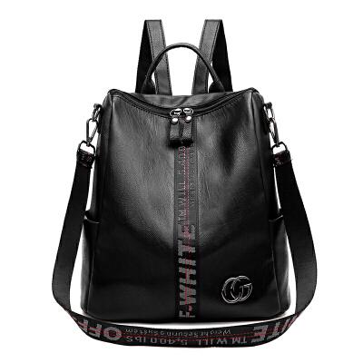 双肩包女韩版潮软皮两用旅行背包时尚个性学院风书包s6 黑色织带 发货周期:一般在付款后2-90天左右发货,具体发货时间请以与客服协商的时间为准