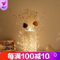 创意简约台灯陶瓷装饰插花时尚温馨浪漫卧室床头客厅书房LDE台灯 送干花+5W LED 灯泡 按钮开关