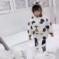 №【2019新款】冬天儿童穿的糖果爷爷女宝宝婴儿羽绒服冬装1-4岁女童中长款儿童羽绒服 米色