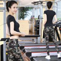 新款健身房服跳操跑步裤女速干运动衣瑜珈显瘦时尚印花瑜伽服套装女