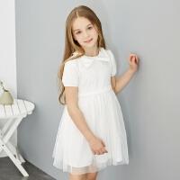 【1件2.5折到手价:69.8】米喜迪mecity童装夏装新款女童蝴蝶结领下摆网纱连衣裙