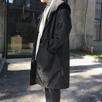 潮男秋冬装加棉加厚韩版宽松中长款过膝大衣OV蝙蝠袖连帽风衣外套 加棉加厚