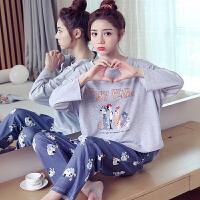睡衣女春秋长袖韩版学生可爱卡通女士全棉家居服套装少女外穿
