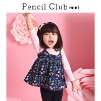 铅笔俱乐部童装2018秋冬女童长袖T恤女小童宝宝假两件上衣儿童T恤