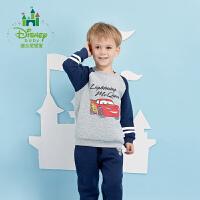 【2件3.5折到手价:76.3】迪士尼Disney童装男童套装春秋新款宝宝两用档保暖长袖运动外出服173T706