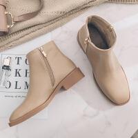 低跟平底短靴女马丁靴英伦风复古女靴冬季黑色方头裸靴及踝靴粗跟