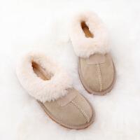 皮毛一�w雪地靴女加�q�W生棉鞋孕�D棉瓢鞋低�投掏裁姘�靴豆豆鞋冬