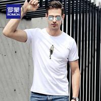 Romon/罗蒙短袖T恤男士青年时尚休闲纯棉夏季薄款男打底衫