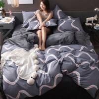 水晶绒四件套全棉纯棉床单被罩被套单人宿舍三件套女冬季床上用品 2.0m(6.6英尺)床 适合220*240cm被
