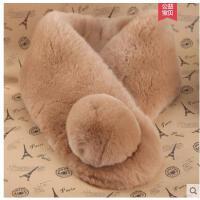 韩版时尚整皮獭兔毛围巾女士秋冬季保暖纯色双面加厚皮草围脖套头