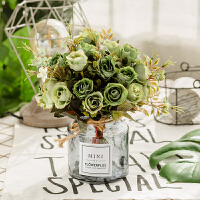 北欧仿真花玫瑰花束玻璃瓶套装假花客厅插花装饰摆件餐桌摆放花卉 红色 绿色樱花MINI
