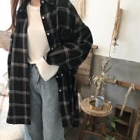 春装上衣2018新款韩版潮中长款宽松学生长袖格子衬衫女polo衫
