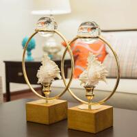 实木创意海螺桌面饰品摆件客厅书房创意礼品现代欧式样板间装饰品