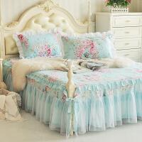 床罩纯棉床裙单件1.8m床双人床罩1.2/1.5m/2米床裙式床单床套 天蓝色 清凉一下