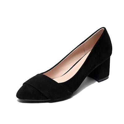 工作鞋黑色职业高跟鞋透气瓢鞋女夏低跟小跟单鞋女3cm粗跟中跟鞋