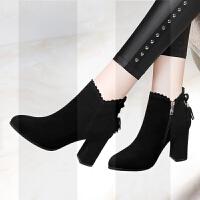 磨砂短靴女鞋2018新款中跟加绒粗跟鞋子黑色小皮鞋高跟鞋女秋冬季SN5347 黑色加绒97-1