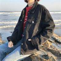 复古黑色长袖牛仔外套女学生秋装新款韩版百搭bf风宽松夹克短外套
