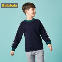 巴拉巴拉男童卫衣秋装新款中大童韩版插肩圆领套头衫印花上衣