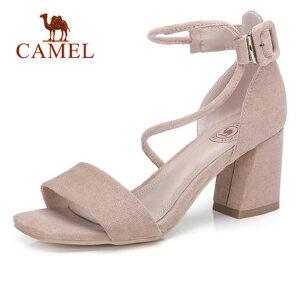 骆驼2018夏季新款原宿ulzzang高跟凉鞋露趾粗跟罗马女鞋韩版百搭
