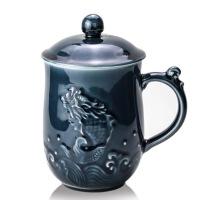 乾唐轩活瓷杯鱼跃龙门高杯480ml创意陶瓷办公泡茶水杯子商务