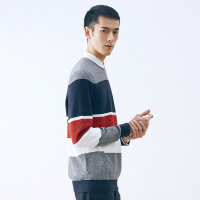 【全场2件2.5折,到手价:56.3】美特斯邦威条纹套头毛衣男士新款时尚拼色chic针织衫商场同款