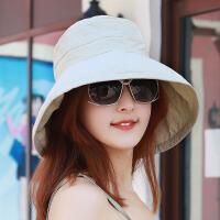 18帽子遮阳帽太阳帽渔夫帽凉帽女晒夏旅游帽可折叠帽 米白色 纯色米 均码(56-58cm)