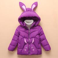 2018新款冬装儿童棉袄女童中长款棉衣中小童小女孩加厚外套 紫色 紫色
