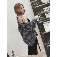 2019春装新款韩版洋气港味衬衫加吊带针织连衣裙小香风两件套装女