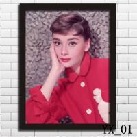 奥黛丽赫本装饰画客厅现代简约经典美女明星海报卧室墙壁有框挂画 16寸33X43CM 2CM厚黑色实木相框 独立