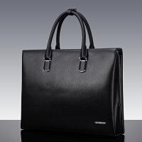 新款包包男商务包公文包男士手提包横款大容量办公皮包带锁公务包