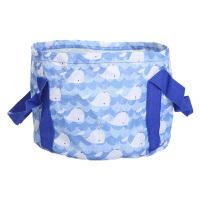折叠水盆 可折叠旅行泡脚桶袋便携式洗衣盆出差加厚洗菜盆 蓝色小鲸鱼