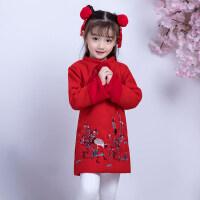 女童旗袍冬过年喜庆拜年服儿童新年装中国风婴儿服女宝宝唐装冬 红色