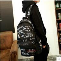 书包男中学生帆布背包韩版时尚潮流复古涂鸦双肩包休闲运动旅行包