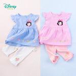 【2.2折价:50.4】迪士尼Disney童装 甜美娃娃衣套装夏季新品小飞袖条纹上衣女童素色七分裤192T865
