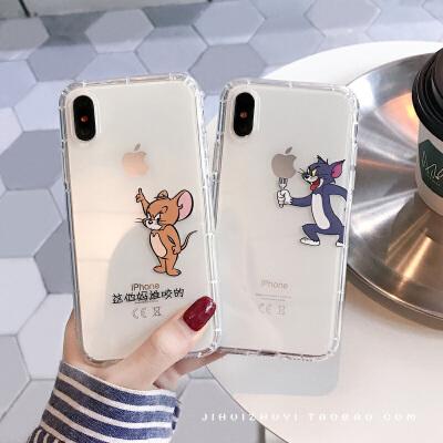 20190618090926938情侣秀恩爱猫和老鼠iPhone7plus/8手机壳透明苹果Xsmax/6s软壳女