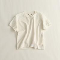 女短袖T恤 圆领镂空绣花毛圈上衣10P
